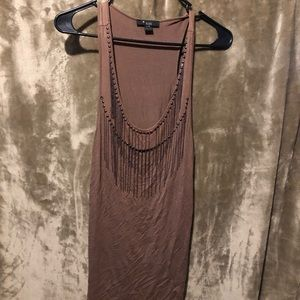 Forever 21 brown fringed tank top